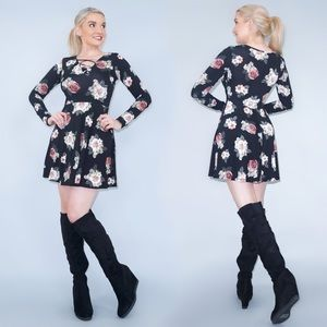 Long Sleeve Floral Pattern Dress